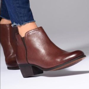 Clarks maypearl ramie booties mahogany leather